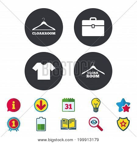 Cloakroom icons. Hanger wardrobe signs. T-shirt clothes and baggage symbols. Calendar, Information and Download signs. Stars, Award and Book icons. Light bulb, Shield and Search. Vector