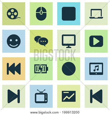 Multimedia Icons Set. Collection Of Energy, Screen, Notebook And Other Elements