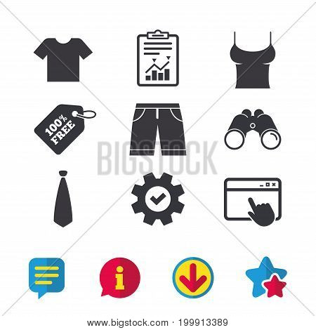 Clothes icons. T-shirt and bermuda shorts signs. Business tie symbol. Browser window, Report and Service signs. Binoculars, Information and Download icons. Stars and Chat. Vector