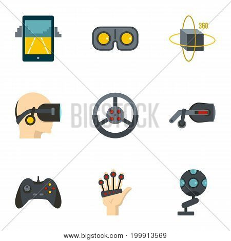 Augmented reality icons set. Flat set of 9 augmented reality vector icons for web isolated on white background