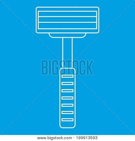 Razor equipment for shaver icon blue outline style isolated vector illustration. Thin line sign