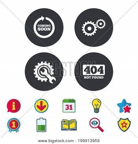 Coming soon rotate arrow icon. Repair service tool and gear symbols. Wrench sign. 404 Not found. Calendar, Information and Download signs. Stars, Award and Book icons. Light bulb, Shield and Search