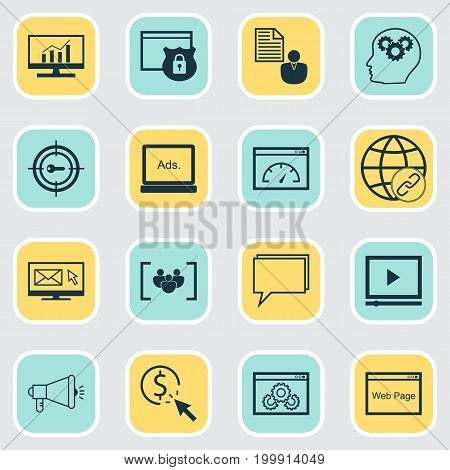 Advertising Icons Set. Collection Of Intellectual Process, Connectivity, Digital Media And Other Elements