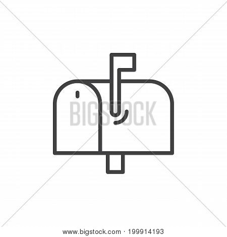 Mailbox line icon, outline vector sign, linear style pictogram isolated on white. Symbol, logo illustration. Editable stroke. Pixel perfect
