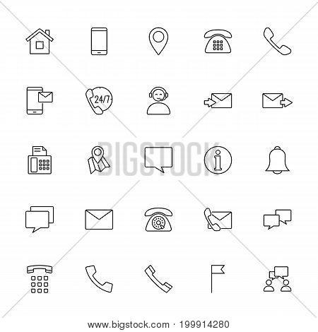 Contact Us Icons Set On White Background