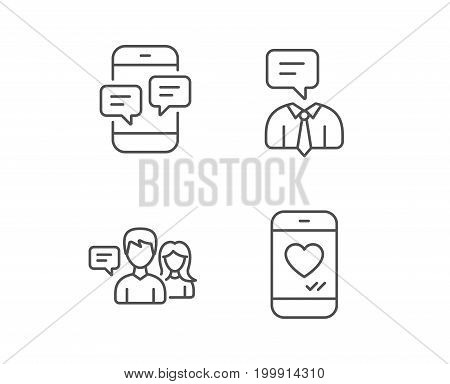 Message, Social media and Communication line icons. Like, Conversation and SMS chat signs. Quality design elements. Editable stroke. Vector