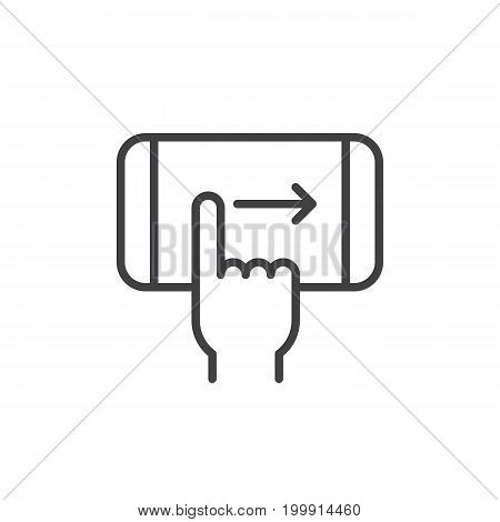 Finger swipe right hand gesture line icon, outline vector sign, linear style pictogram isolated on white. Symbol, logo illustration. Editable stroke. Pixel perfect