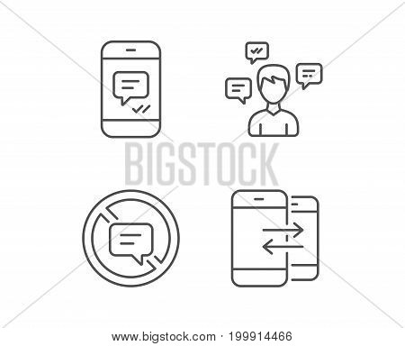 Message, Stop talking and Communication line icons. Group chat, Conversation and SMS signs. Messenger symbol. Quality design elements. Editable stroke. Vector