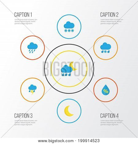 Weather Flat Icons Set. Collection Of Drop, Moon, Lightning And Other Elements