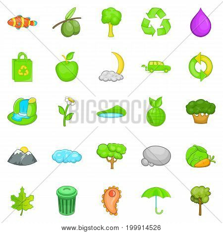 Environmental pollution icons set. Cartoon set of 25 environmental pollution vector icons for web isolated on white background
