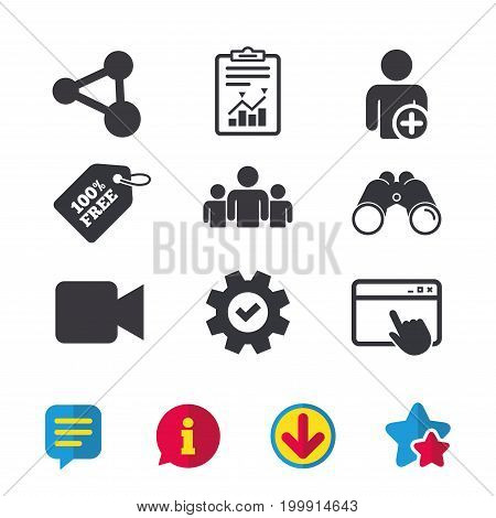 Group of people and share icons. Add user and video camera symbols. Communication signs. Browser window, Report and Service signs. Binoculars, Information and Download icons. Stars and Chat. Vector