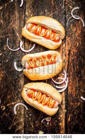 Street Food. Hot Dogs With Mustard And Tomato Sauce.