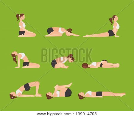 Yoga poses for better sleep. Vector illustrations with woman in sport bra and shorts doing asanas from insomnia and relaxing. Healthy poster in flat vector design. On greenery background.