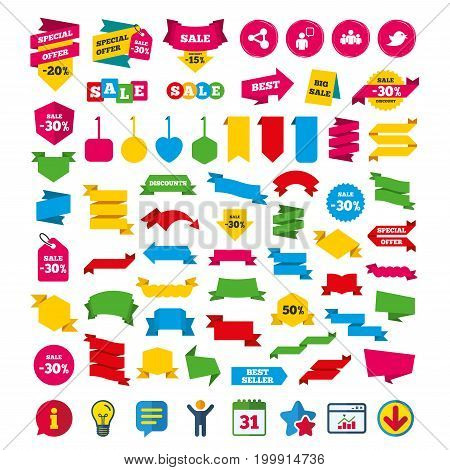 Group of people and share icons. Speech bubble symbols. Communication signs. Shopping tags, banners and coupons signs. Calendar, Information and Download icons. Stars, Statistics and Chat. Vector
