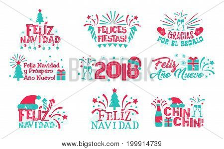 Happy new year spanish set. Christmas collection of different greeting labels in Spanish for designers and illustrators. Greetings in the form of vector illustrations
