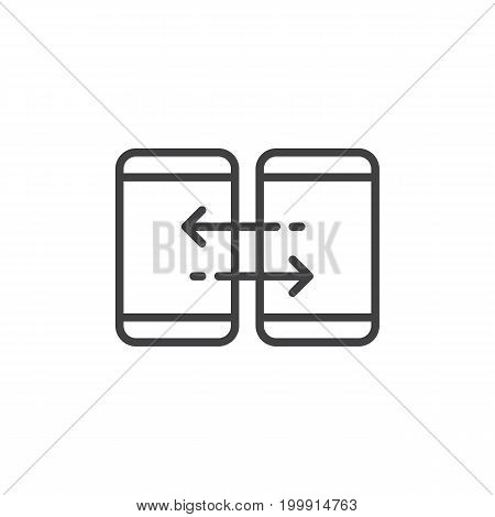 Mobile device synchronization line icon, outline vector sign, linear style pictogram isolated on white. Sync symbol, logo illustration. Editable stroke. Pixel perfect