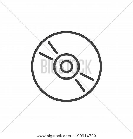 Cd, dvd compact disc line icon, outline vector sign, linear style pictogram isolated on white. Symbol, logo illustration. Editable stroke. Pixel perfect