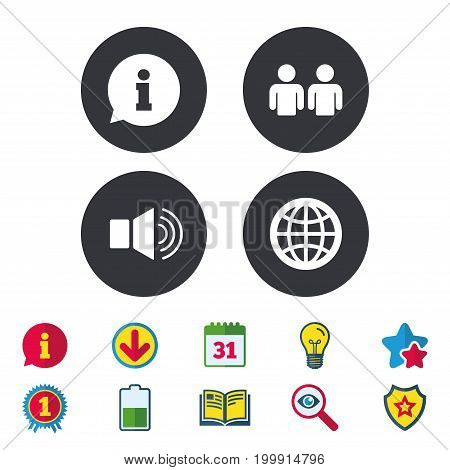 Information sign. Group of people and speaker volume symbols. Internet globe sign. Communication icons. Calendar, Information and Download signs. Stars, Award and Book icons. Vector
