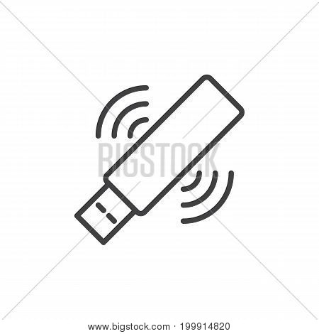 Wifi usb stick line icon, outline vector sign, linear style pictogram isolated on white. Symbol, logo illustration. Editable stroke. Pixel perfect