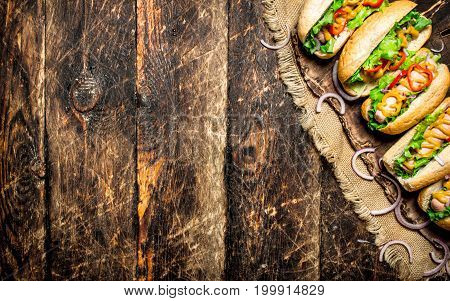 Street Food. Hot Dogs With Herbs, Vegetables And Hot Mustard.