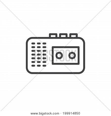 Audio tape recorder line icon, outline vector sign, linear style pictogram isolated on white. Symbol, logo illustration. Editable stroke. Pixel perfect