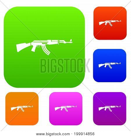 Military rifle set icon in different colors isolated vector illustration. Premium collection