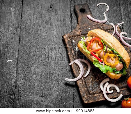 Fresh Hot Dog With Herbs And Hot Sauce.