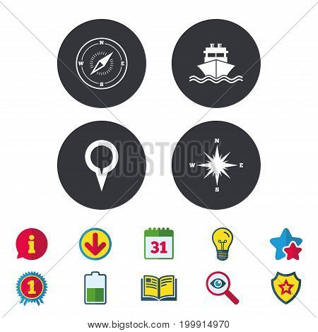 Windrose navigation compass icons. Shipping delivery sign. Location map pointer symbol. Calendar, Information and Download signs. Stars, Award and Book icons. Light bulb, Shield and Search. Vector