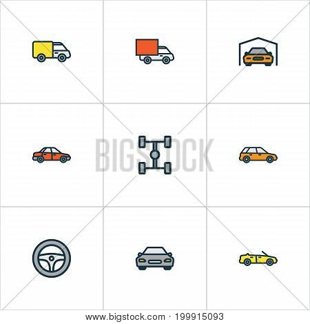 Auto Colorful Outline Icons Set. Collection Of Truck, Shed, Automobile And Other Elements