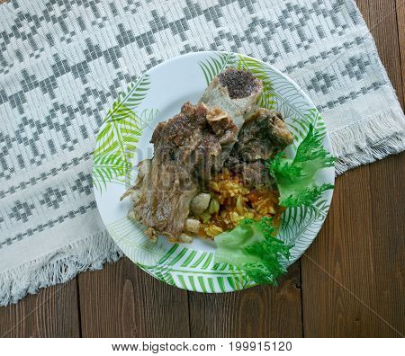 Boiled Gigot of Lamb, studio close up meal