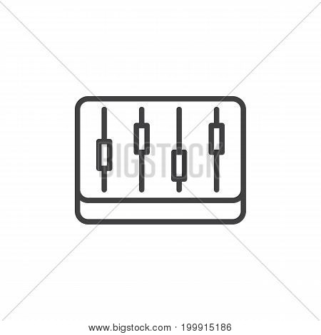 Mixer, levels line icon, outline vector sign, linear style pictogram isolated on white. Symbol, logo illustration. Editable stroke. Pixel perfect