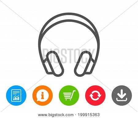 Headphones line icon. Music listening device sign. DJ or Audio symbol. Report, Information and Refresh line signs. Shopping cart and Download icons. Editable stroke. Vector