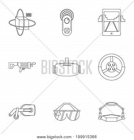 Augmented reality icons set. Outline set of 9 augmented reality vector icons for web isolated on white background