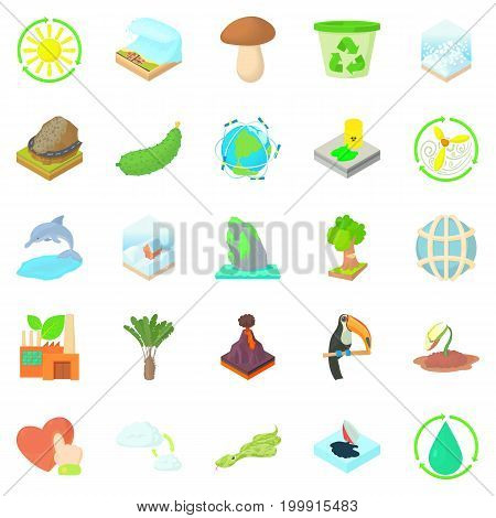 Pure nature icons set. Cartoon set of 25 pure nature vector icons for web isolated on white background
