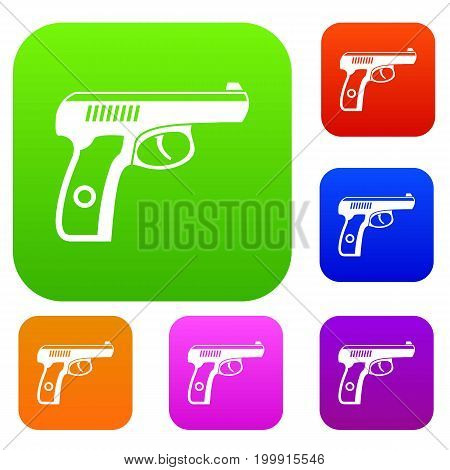 Gun set icon in different colors isolated vector illustration. Premium collection