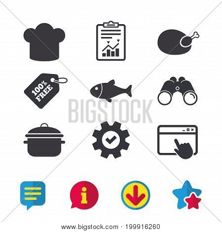 Chief hat and cooking pan icons. Fish and chicken signs. Boil or stew food symbol. Browser window, Report and Service signs. Binoculars, Information and Download icons. Stars and Chat. Vector