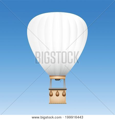 Captive balloon with white surface to be used as advertising space for text, images or your company logo - vector illustration on blue sky background.