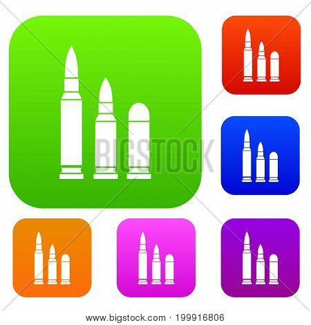Bullets set icon in different colors isolated vector illustration. Premium collection