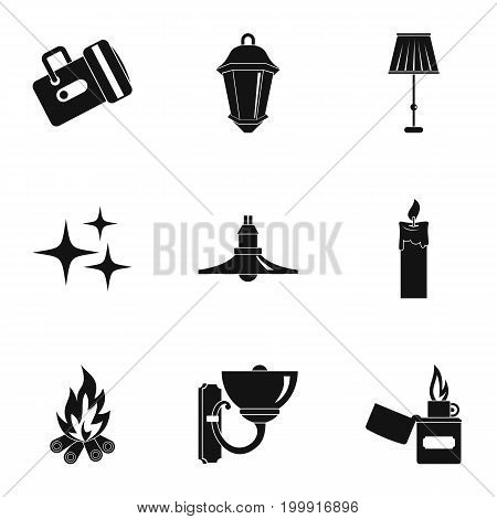 Sources of light icon set. Simple style set of 9 sources of light vector icons for web isolated on white background