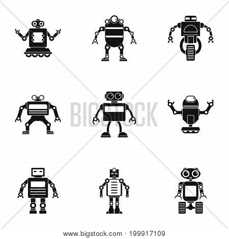 Technology robot icons set. Simple set of 9 technology robot vector icons for web isolated on white background