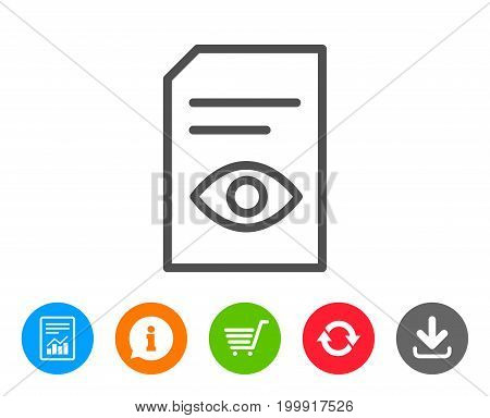 View Document line icon. Open Information File sign. Paper page with Eye concept symbol. Report, Information and Refresh line signs. Shopping cart and Download icons. Editable stroke. Vector