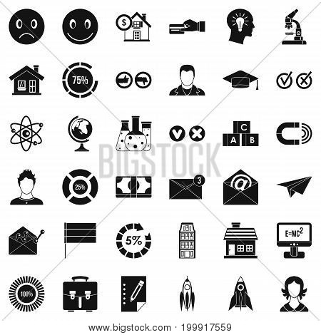 Elearning icons set. Simple style of 36 elearning vector icons for web isolated on white background