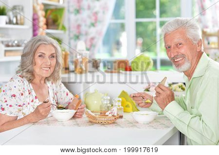 Happy Senior couple having meal at home