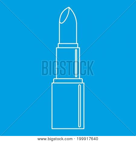 Open lipstick icon blue outline style isolated vector illustration. Thin line sign