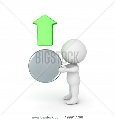 3D illustration depicting the growth in value of silver. A character is holding a silver coin and there is a green arrow above the coin.