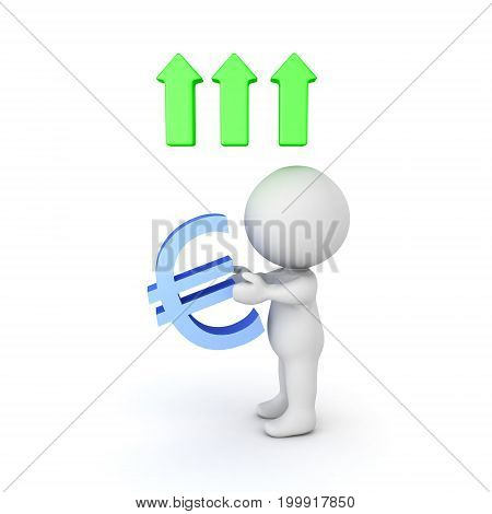 3D illustration depicting the growth in value of the european currency. Isolated on white.