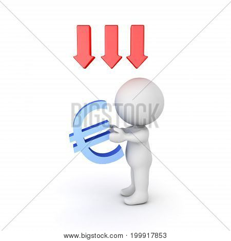 3D illustration depicting the depreciation in value of the european currency. Isolated on white.