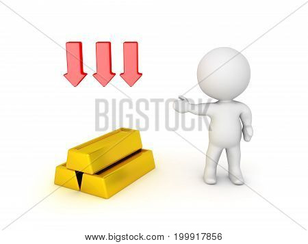 3D illustration depicting the depreciation in value of gold bullion. Three red down arrows are above the gold bullion.
