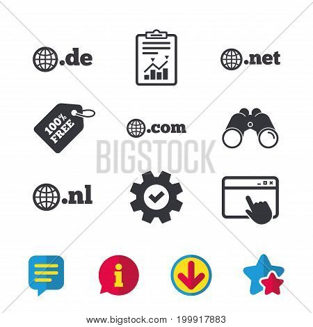 Top-level internet domain icons. De, Com, Net and Nl symbols with globe. Unique national DNS names. Browser window, Report and Service signs. Binoculars, Information and Download icons. Stars and Chat