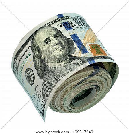 US dollars bundle on a white background .